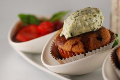 Savory Cupcakes: Olive Oil and Balsamic Strawberry Cupcakes with a Herbed Mascarpone Cream