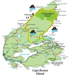 Map of famous Cabot Trail driving tour of Cape Breton Island, Nova Scotia. Part of the Cabot Trail Cabot Trail Map, Trail Maps, East Coast Travel, East Coast Road Trip, Cap Breton, East Coast Canada, Nova Scotia Travel, Atlantic Canada, Prince Edward Island