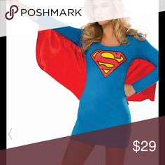Super girl Dress (costume) NWT Whether playing with your kids or going to a dress up party...here's a casual super girl dress. Nice fit, the red is more like wings than a cape, but still gets the super girl image done lol Dresses