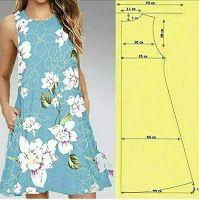 Medidas y patrones de costura de vestidos femeninos Girl Dress Patterns, Skirt Patterns Sewing, Clothing Patterns, Fashion Sewing, Diy Fashion, Ideias Fashion, Diy Clothing, Sewing Clothes, Costura Fashion