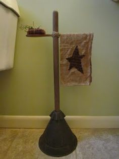 Primitive Towel Holder. Cute idea :-) I just purchased this piece at an auction...