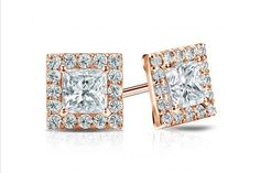 Certified 14k Rose Gold Halo Princess-Cut Diamond Stud Earrings
