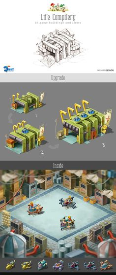 Life Compilery: In game buildings and items by Just Games, via Behance