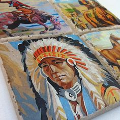 Items similar to Western Paint By Number CoasterSet of 4 Vintage Cowboy and Indian Art on Etsy - home sweet home Vintage Western Decor, Western Art, Number Art, Paint By Number, Indian Room, Indian Art, Cute Furniture, Cowboys And Indians, Le Far West