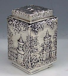 "Jacobi and Jenkins sterling silver ""Landscape"" pattern tea caddy - Baltimore,c1895 (Britannia Silver)"