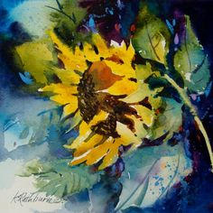 "Daily Paintworks - ""Just Hanging Around"" - Original Fine Art for Sale - © Kathy Los-Rathburn Watercolor Sunflower, Sunflower Art, Watercolor Artwork, Watercolor Artists, Watercolor Print, Watercolor Illustration, Watercolor Flowers, Abstract Flowers, Pictures To Paint"