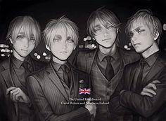 Hetalia (ヘタリア) - The Kirkland brothers - England, Scotland, Wales, & Ireland