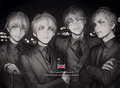 Hetalia (ヘタリア) - The Kirkland brothers - England, Scotland, Wales, & Ireland