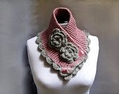 Knit Scarf Neck warmer Collar grey Victorian Steam punk. $28.00, via Etsy.