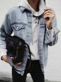 hoodies + denim jackets