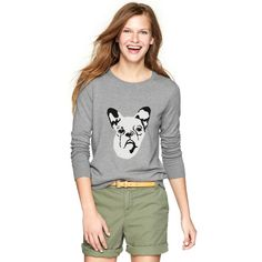 Gap Frenchie Intarsia Sweater ($40) ❤ liked on Polyvore featuring tops, sweaters, petite, petite knit tops, long sleeve tops, intarsia sweater, crew neck top and petite long sleeve tops