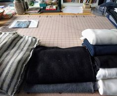 I have been gathering samples of knit fabrics to sew with dreams of an #oslocardigan,  #hemlocktee and #larktee, and leggings. From the left a cream and black cotton stripe, grey and black linen knit, and cotton jersey cotton knit. There will be a lot of sewing going on.knittingcatherinelarktee,hemlocktee,oslocardigan