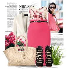 Pink pencil skirt with black white and floral