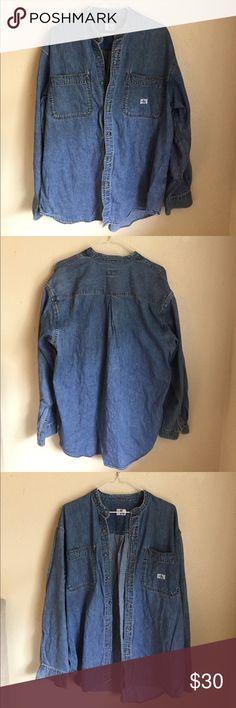 Calvin Klein denim t shirt Calvin Klein denim button up shirt. 100% cotton. Calvin Klein Shirts Casual Button Down Shirts