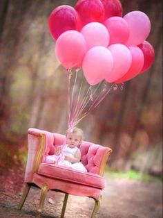 A photo Shot with PINK balloons This would be cute for a little toddlers Birthday Invitation
