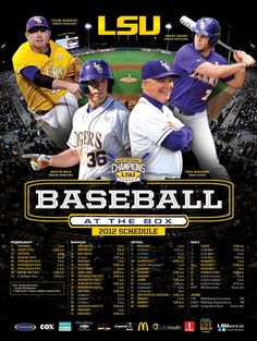 2012 LSU Baseball Poster featuring Head Coach Paul Mainieri with seniors Tyler Hanover, Austin Nola & Grant Dozar. Posters arrive in the second week of February and will be available in the LSU Athletic Administration Building or online at LSUsports.net/posters.