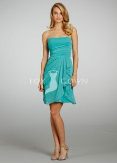 alluring turquoise chiffon strapless a line short side draped ruffle bridesmaid dress
