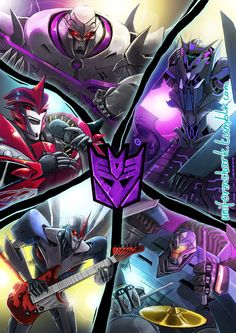 Megatron & Starscream rocking the electric guitars,  Soundwave as the DJ, Breakdown has the drums, and Knockout has the mic. This is either going to be really good or really bad lol!
