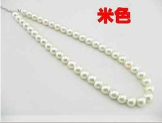 Wholesale 10 mm color glass imitation pearls necklace