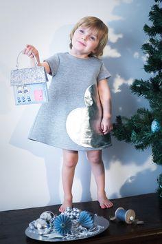 Simonetta winter 2015 heart patch grey dress #christmas #silver #bluesky #simonetta #FW15 #fall #winter #fallwinter2015 #childrens #kids #childrenswear #kidswear #kidsfashion #girls #boys