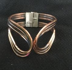 Vintage Copper Swirl Hinged Bracelet - Renoir Style - Not Signed #Hinged