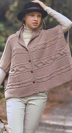 Вязание спицами - пончо…
