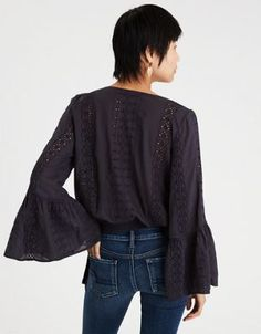 AE EYELET BELL SLEEVE WRAP TOP by  American Eagle Outfitters | It's a wrap. These eyelets will not let you down.It's a wrap. These eyelets will not let you down. Shop the AE EYELET BELL SLEEVE WRAP TOP and check out more at AE.com.