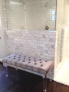 WHITE + GOLD blog marble tile wall Bathroom Bench, White Bathroom, Master Bathroom, Master Shower, Bench Cushions, Eames Dining Chair, Dining Bench, Black And White Tiles