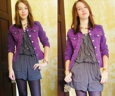 Get this look: http://lb.nu/look/2413839  More looks by Molly G: http://lb.nu/user/1090293-Molly-G  Items in this look:  Thrift Purple Denim Jacket, Dotted Playsuit, E Bay Hello Kitty Watch, Thrift Faux Pearl Necklace, Tights