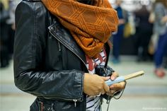 wool cowl scarf + leather jacket.