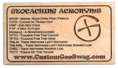 12 Geocaching Acronyms Wood Magnets