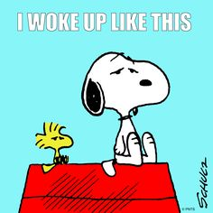 Snoopy and Woodstock Sitting on Top of Doghouse Looking Tired With Caption - I Woke Up Like This