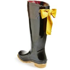"Joules 'Evedon' Rain Boot, 1"" heel (€150) ❤ liked on Polyvore featuring shoes, boots, bow, rain boot, knee-high boots, knee high boots, bow riding boots, rubber boots, knee boots and wellies boots"