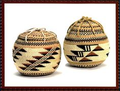 "Tobacco Pouches. Tobacco, an integral part of medicine ceremonies, is stored in tobacco baskets with individual lids. The red design is formed by weaving in willow roots , the black design is made from black fern. They range in size from 2"" to 6"" in diameter. LBD"