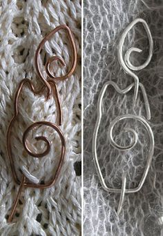 cat shawl pins