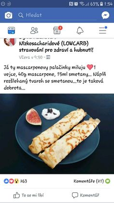 palacinky z mascarpone Low Carb Desserts, Smoothies, Paleo, Food And Drink, Gluten Free, Healthy Recipes, Eat, Breakfast, Mascarpone
