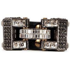 Lanvin 'Dahomar' crystal leather hinge bracelet