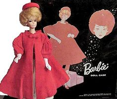Vintage Barbie Red Flare #939 (1962-1965)  Red Velvet Swing Coat  Red Velvet Clutch Purse  Red Velvet Pillbox Hat  Long White Gloves  Red Open Toe Heels  This classic, almost definitive, vintage ensemble, with its swing coat and pillbox hat was obviously inspired by the style queen of 1962, first lady Jackie Kennedy.  The swing coat has a beautiful pure white satin lining. The red velvet envelope purse has a tiny rhinestone closure and it is also lined in white satin.