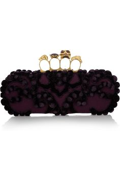 Alexander McQueen Knuckle embellished brocade box clutch NET-A-PORTER.COM