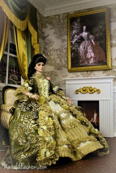 """https://flic.kr/p/nnmbLg   Fashion Royalty FR16  OOAK Outfit """"Madame de Pompadour"""" by Natalia   Have finally finished this Big Project!  I have made the dress similar to Madame de Pompadour's  dress from Boucher Francois's picture. The dress fits FR16 and Tonner Tyler and Antoinette (pictures will be on Flickr soon)  All composition (the dress, loveseat and diorama)   will be available on Ebay   soon."""
