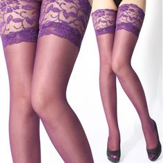 Sexy Womens Lace Top Silicone Band Thigh High Stockings Pantyhose Sapphire