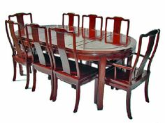 Chinese dining table including 6 side chairs & 2 arm chairs