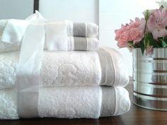 Toalhas de banho jacquard com detalhe em linho