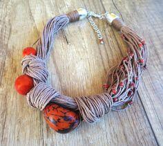Orange Tagua Nut Necklace, Linen Necklace,Light Brown Linen Cord, Modern Necklace