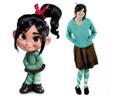 Tutorial of Vanellope Von Schweetz Costume - especially like the painted tights