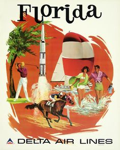 Vintage Airline Poster by David Wagner / Delta Air Lines - Florida