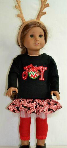 Christmas Joy Ensemble Skirt and Top For American Girl I8 Inch Doll