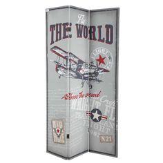 AIRCRAFT canvas aeroplane folding screen in grey W 180cm