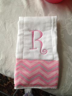Burp cloth with pink chevron fabric and one intial!