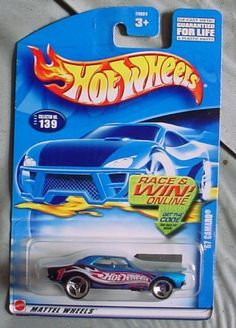 Hot Wheels 2002 '67 Camaro Mainline Race Team #139 BLUE 1:64 Scale Collectible Die Cast Car by Mattel. $0.01. '67 Camaro - Blue / HW Graphics - Custom Wheels. Race & Win Online Card - Black Chassis & Hood. 2002 - Mattel - Hot Wheels - Collector #139. Out of Production - 1:64 Scale Die Cast Metal. New - Mint - Rare - Limited Edition - Collectible. 2002 - Mattel - Hot Wheels - '67 Camaro - Blue / HW Racing Graphics / Custom Wheels - Black Chassis & Hood - Race & Win Online Card - ...